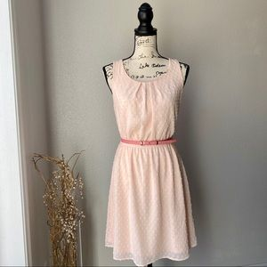 Elle BlushPink Tea Dress Belt A Line Small 2 EUC